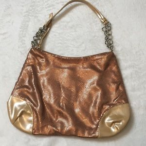 Whiting and Davis Metallic Copper Mesh Hobo Bag